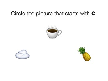 Beginning Letter Sounds - Circle the Picture - Emojis!