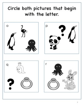 Beginning Letter Sounds, Circle the Two Correct Pictures