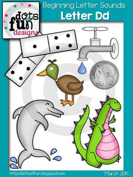 Beginning Letter Sounds Clip Art: Letter D ~Dots of Fun Designs~