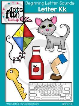 Beginning Letter Sounds Clip Art: Letter K ~Dots of Fun Designs~