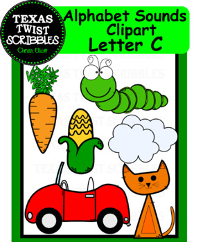 Beginning Letter Sounds Clipart Letter C {Texas Twist Scribbles}
