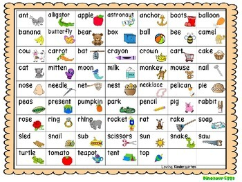 Beginning Letter Sounds Game for Kindergarten