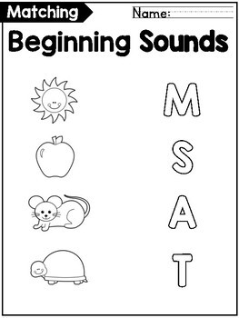 Beginning Letter Sounds Match - Two Pictures Per Letter + Answers