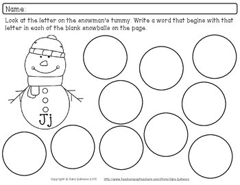 Beginning Letter Sounds Phonics Practice Packet - Snowman and Snowball Theme