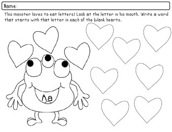 Beginning Letter Sounds Phonices Practice Packet - Valentine's Day Theme