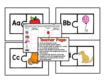 Beginning Letter Sounds Puzzle