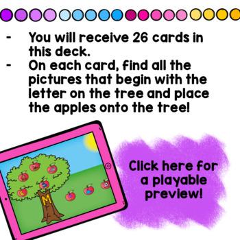 Beginning Letter Sounds Recognition Apples Boom Cards