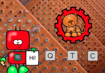 Letter Recognition Games Robot Theme BOOM CARDS Digital Resource