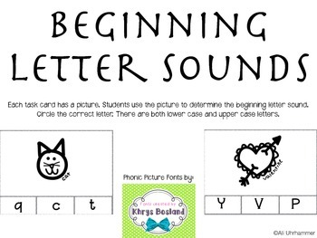 Beginning Letter Sounds Task Cards