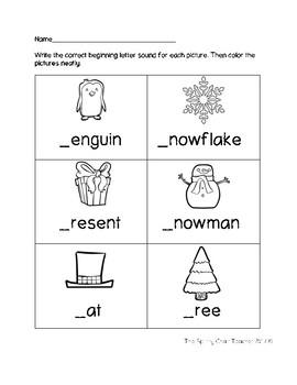 Beginning Letter Sounds Winter Worksheets