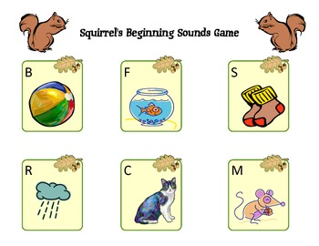 Beginning Letter Sounds - a fall-themed game for pre-k or kindergarten