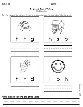 Beginning Letter Sounds and Writing Words