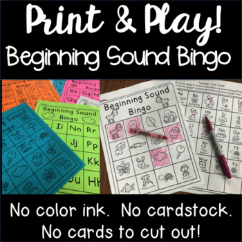 Beginning Letter and Sound Bingo - Print and Play