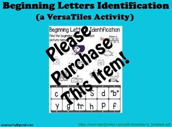 Beginning Letters Identification--VersaTiles Activity