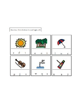Beginning Letters/Sounds Worksheets/Activity - Students with AUTISM