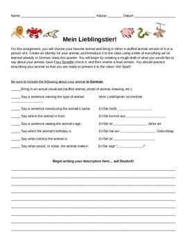Beginning Level German Animal Project - Mein Lieblingstier