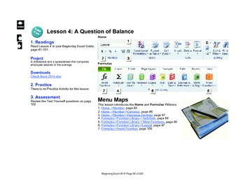 Microsoft Excel 2010 Beginning: A Question of Balance