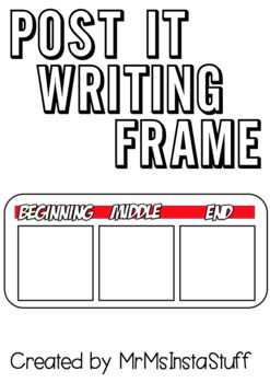 Beginning, Middle & End - POST IT - Writing Frame