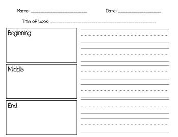 Beginning Middle End Recording sheet