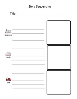 Beginning/Middle/End Story Summary Retell Worksheet (Using pictures and words)