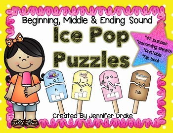Beginning, Middle & Ending Sound CVC Ice Pop Puzzles!   PL