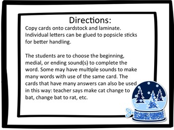 Fill in the Beginning, Middle, Ending Sound Cards and Sort (Winter Theme)