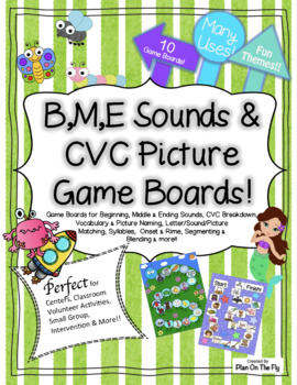 Beginning, Middle, Ending Sounds & CVC Picture Game Boards!