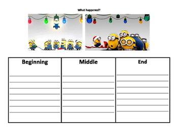 Minion Beginning Middle and End Writing Prompt/Graphic Organizer