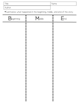 Beginning, Middle, and End Graphic Organizers with Writing Prompts