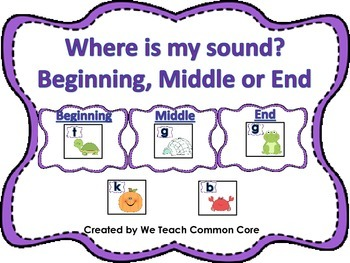 Beginning, Middle, and End Sound Sort Literacy Center Word
