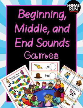 Beginning sounds, middle sounds and end sounds Games Bundl