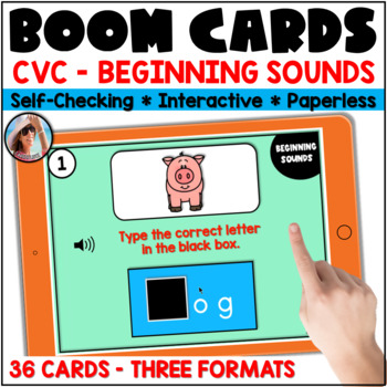 Beginning, Middle and Ending Sounds Boom Cards Bundle