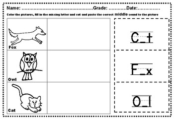 Beginning, Middle and Ending Sounds Cut and Paste Animal Theme