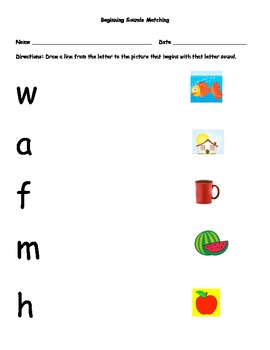Beginning, Middle, and Ending Sounds Matching