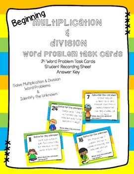 Beginning Multiplication & Division Word Problem Task Cards