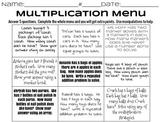 Beginning Multiplication Menu