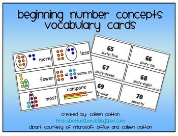 Beginning Number Concepts Math Vocabulary Cards