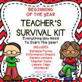 Beginning of the Year Editable Teacher's Survival Kit