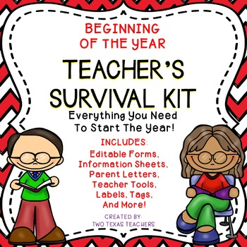 Beginning of the Year Editable Teacher's Survival Kit