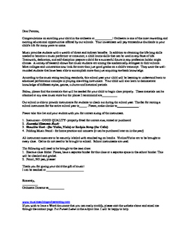 Beginning Orchestra - Sample Parent Letter for First Day of School