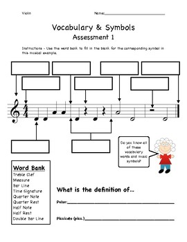 Beginning Orchestra - Vocabulary & Symbols Assessment