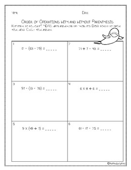 Beginning Order of Operations Packet