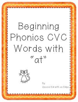 "Beginning Phonics CVC Words with ""at"""