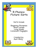 Pre-K, Kinder, First Grade Phonics Pictures Sorts Long & Short Vowels,Diagraphs