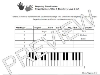 Beginning Piano Activity- Finger Numbers and Loud & Soft