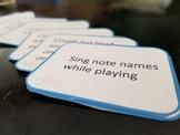Beginning Piano Practice Activity Cards