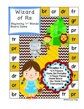 Consonant Blends - Beginning R Blends Board Game- The Wizard of Rs
