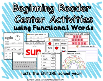 Beginning Reader Center Activities Using Functional Words in Special Ed