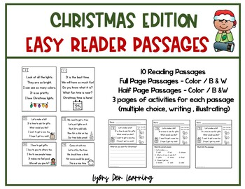 Beginning Reader Christmas Reading Passages and Comprehension Activities