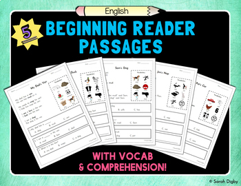 Beginning Reader Passages with Vocabulary and Comprehension (Set of 5)